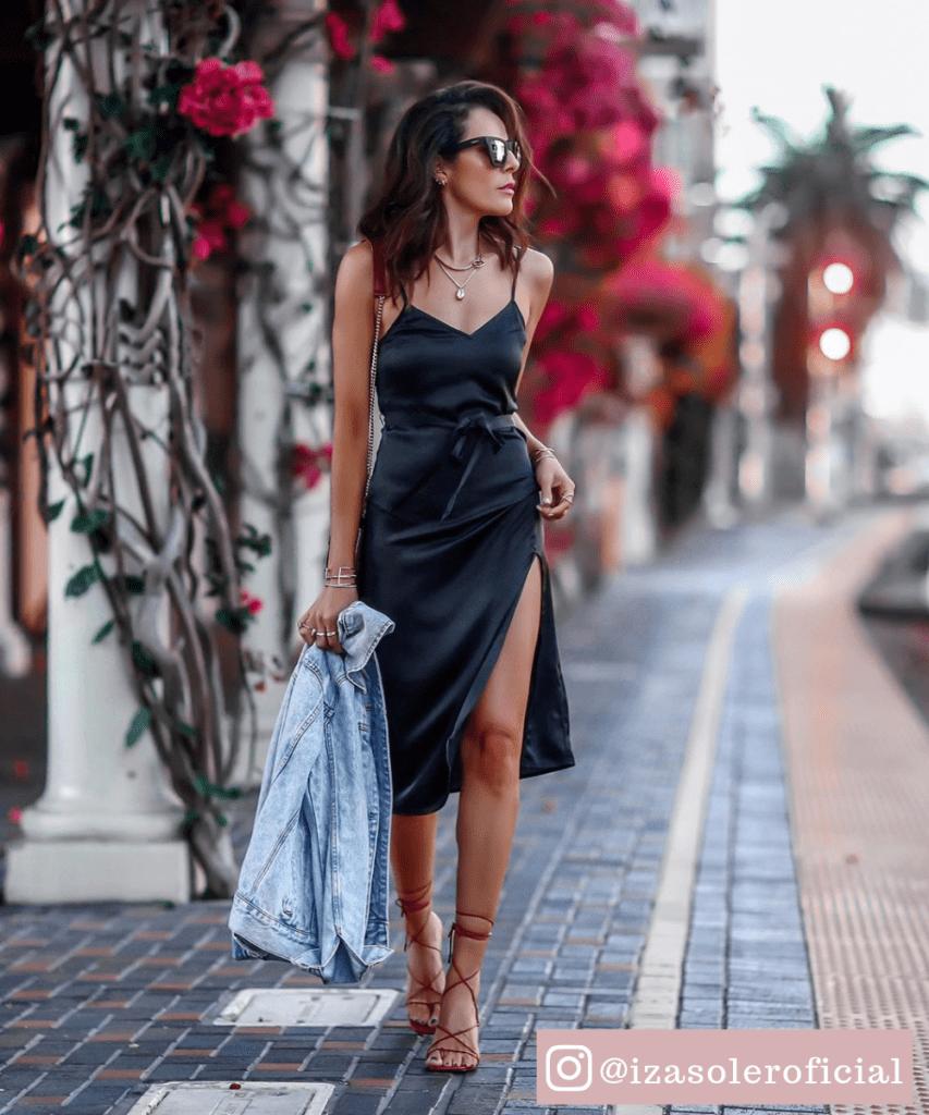 vestido midi preto com fenda