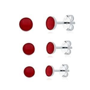 Cartela Kit com três brincos de zirconia
